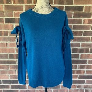 NWOT Ann Taylor blue sweater bow detail